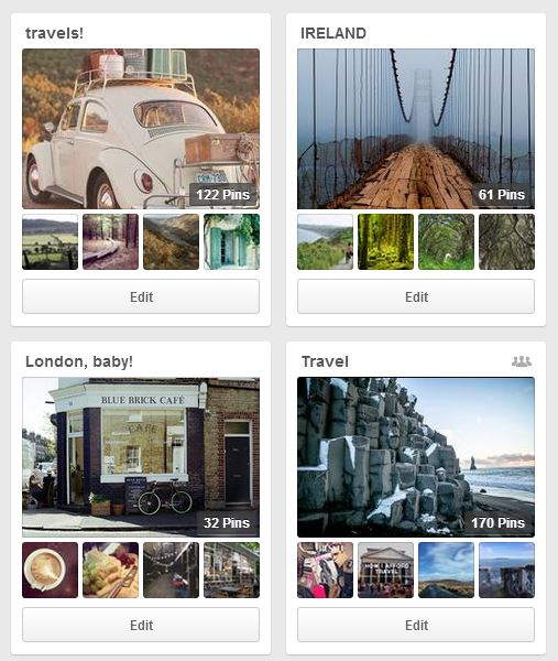 Travel Pinterest boards